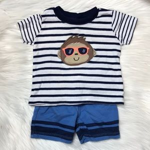 Carter's Baby Boy Monkey Shorts and Tee Outfit